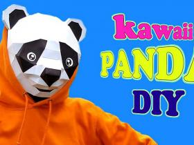How to make a panda polygon kawaii mask DIY by Devlin Fox